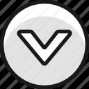 arrow, button, circle, down, 1