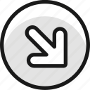 arrow, thick, circle, bottom, right, corner, 2