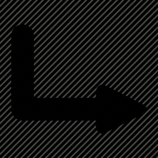 arrow, bottom, right, u icon
