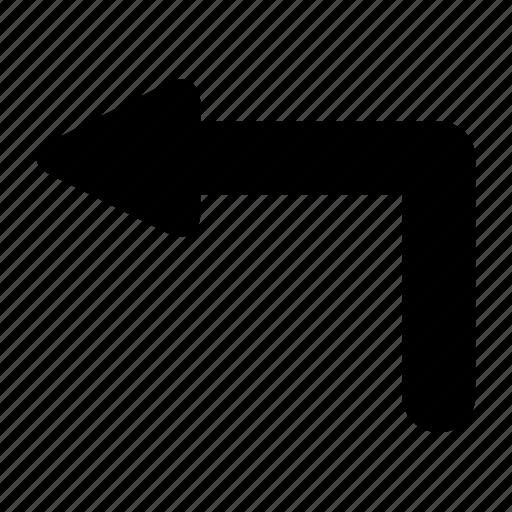 arrow, left, u icon