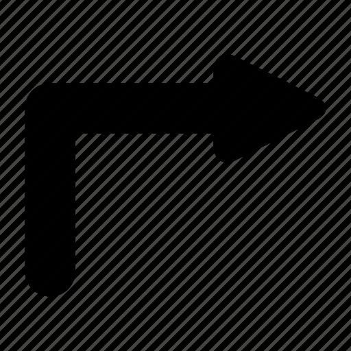 arrow, right, u icon