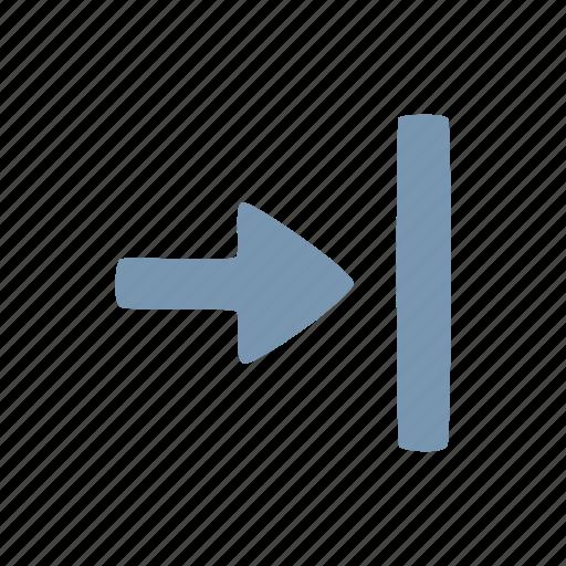 arrow, closure, end icon