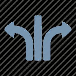 arrow, different, split icon