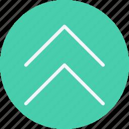 arrow, arrows, chevron, double, navigation, sign, up icon