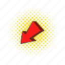 arrow, comics, cursor, direction, down, red, shadow icon