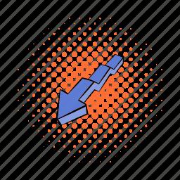 app, arrow, broken, comics, cursor, direction, down icon