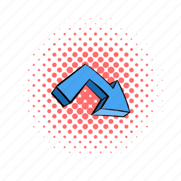 arrow, collection, comics, direction, down, motion, upwards icon