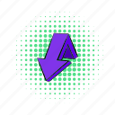 arrow, comics, design, direction, down, navigation, violet icon