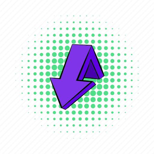 arrow, comics, design, direction, down, navigation, violet icon