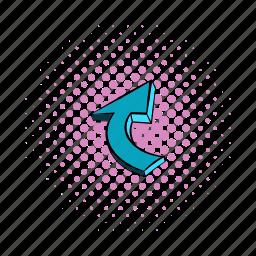 arrow, business, comics, curl, decoration, design, spiral icon