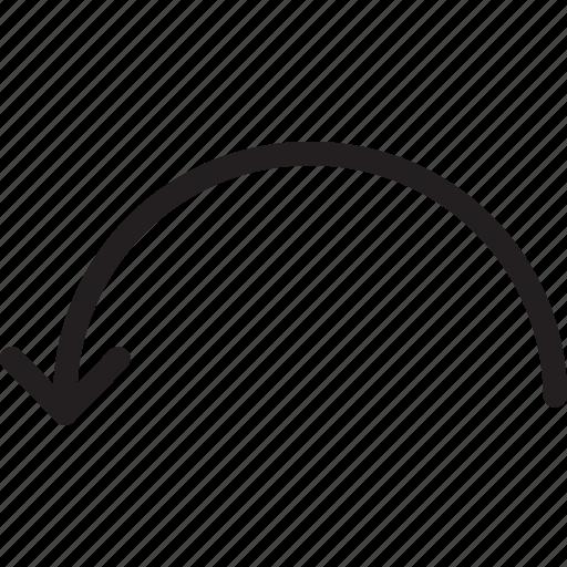 arc, arrow, back, down, previous icon