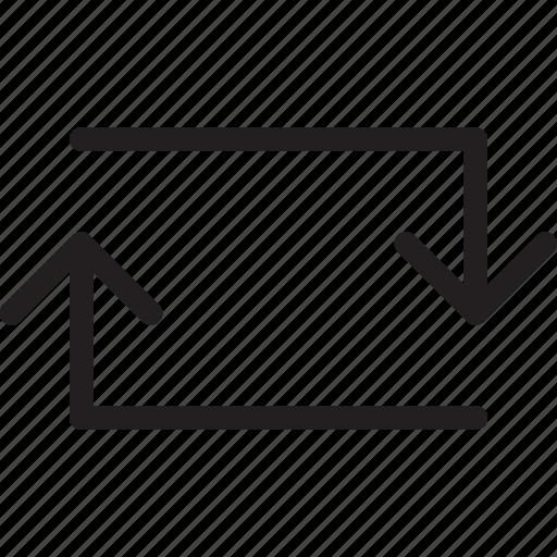 arrow, loop arrows, square, sync, synchronous icon