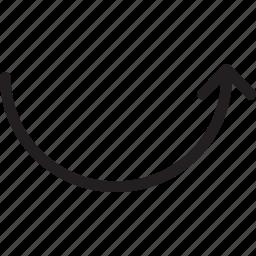 arc, arrow, back, up icon
