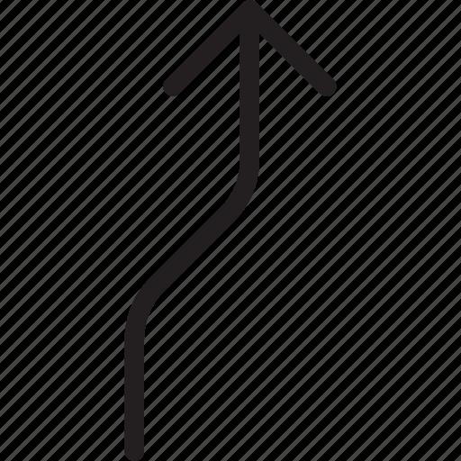 arrow, curve, up icon