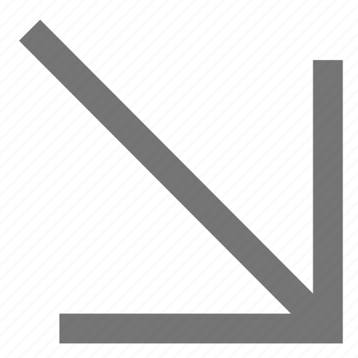 arrow, bottom, down, line, material, right icon