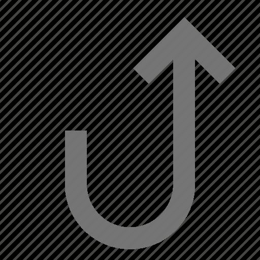 arrow, line, material, rotate, up, upward icon