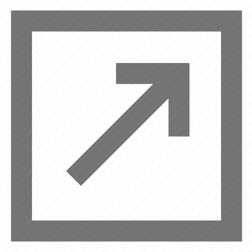 arrow, box, line, material, outline, top right icon