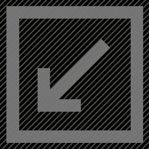 arrow, bottom left, box, line, material, outline icon