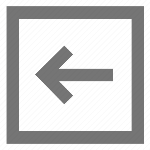 arrow, back, box, left, line, material, outline icon