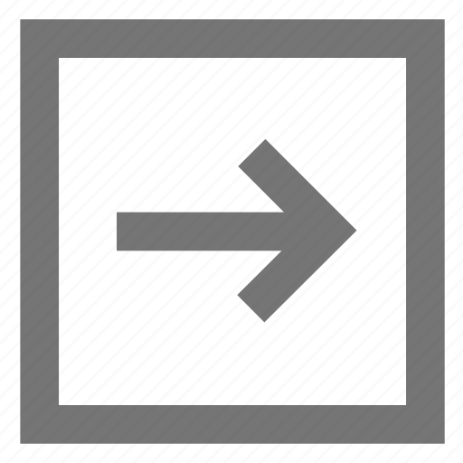 arrow, box, forward, line, material, outline, right icon