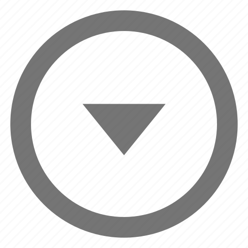 arrow, circle, down, drop, material, outline icon