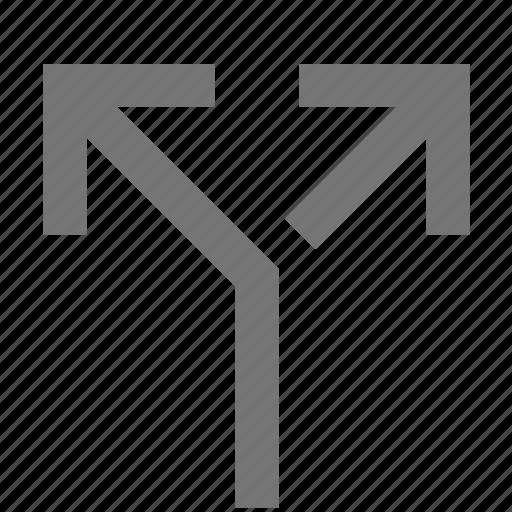 arrow, call, communication, line, material, split icon