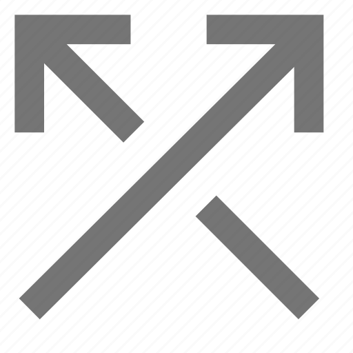 arrow, arrows, ascending, crossed, material, shuffle, up icon