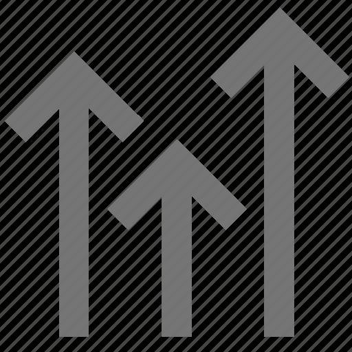 arrow, arrows, material, media, network, social, three icon