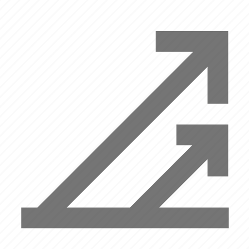 arrow, double, line, material, right, up icon