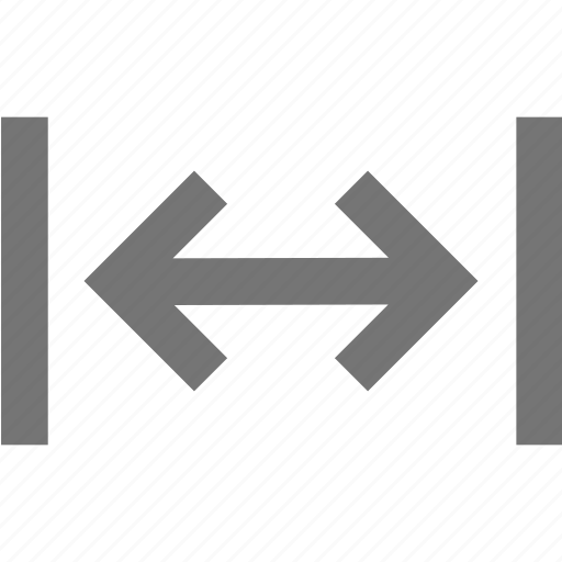 arrow, expand, horizontal, line, material, measure, size icon