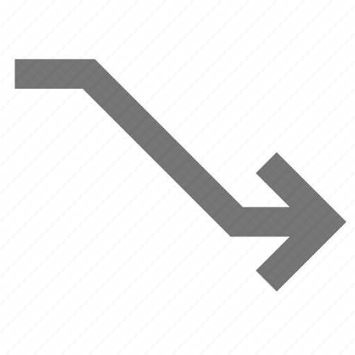 arrow, connection, direction down, line, material icon