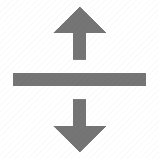 align, arrow, center, material, middle, split, vertical icon