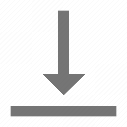 align, arrow, bottom, download, format, material, vertical icon