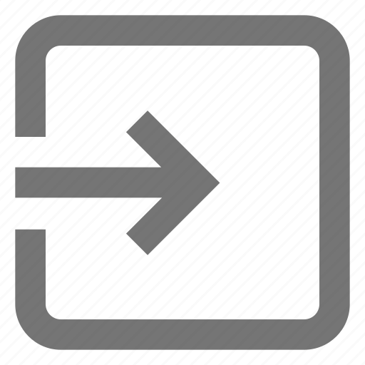 arrow, exit to app, import, input, login, material, right icon