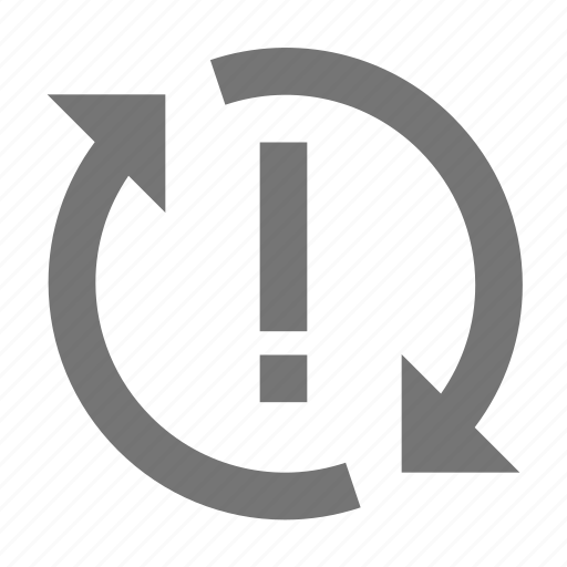 alert, arrow, line, material, problem, sync icon