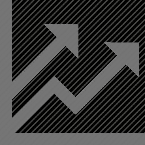 arrow, chart, finance, grow, material, success, trending icon