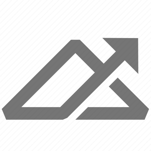 arrow, line, material, triangle, up icon