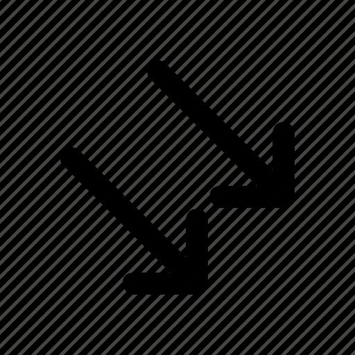 arrows, diagonal, double, down, up icon