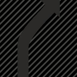 arrow, right, turn, verctor, way icon