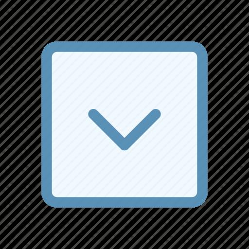 arrow, box, chevron, direction, down, interface, user icon