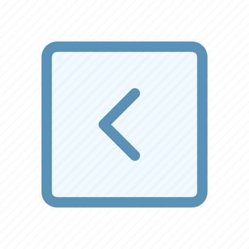 arrow, box, chevron, direction, interface, left, user icon