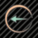 arrow, arrows, circle, left