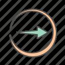 arrow, arrows, circle, right