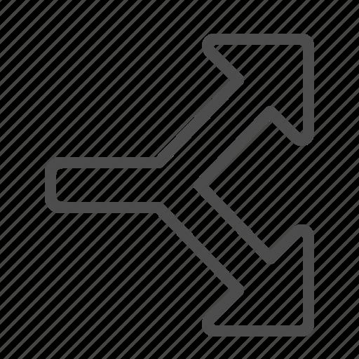 arrow, crossroad, direction, navigation icon