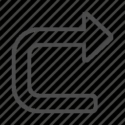 arrow, direction, u turn, u-turn, undo icon