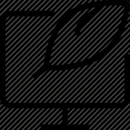 compose, explain, monitor, signature, words, writing icon