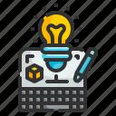 creative, design, idea, lightbulb, laptop, thinking, pencil