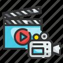 movie, video, camera, cinema, entertainment, film, clapboard