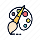 art, brush pen, colot, design, palet, pallete icon