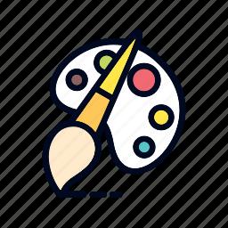 art, brush pen, colot, design, palet, pallete icon